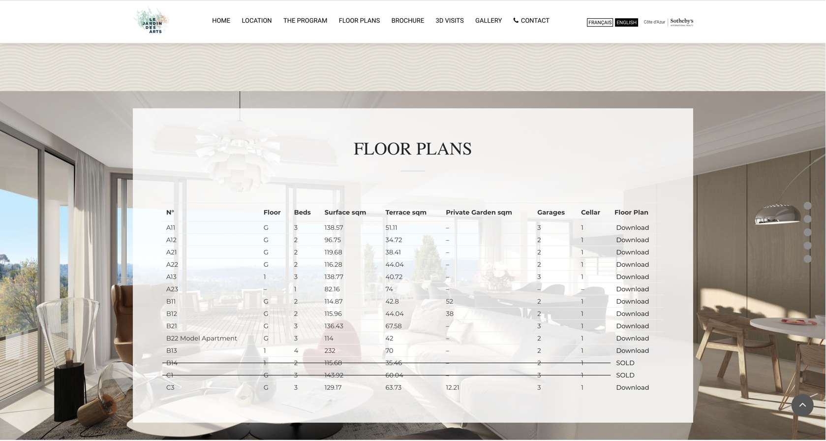 Floor Plans section from a website developed by Golden Lobster Agency
