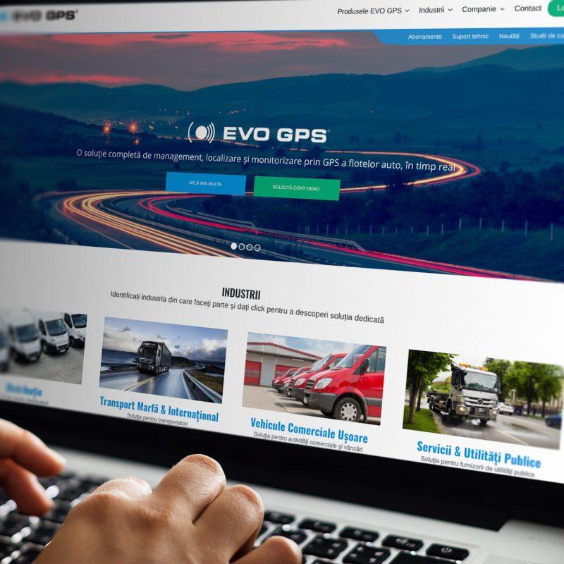 EVO GPS Website opened on a laptop