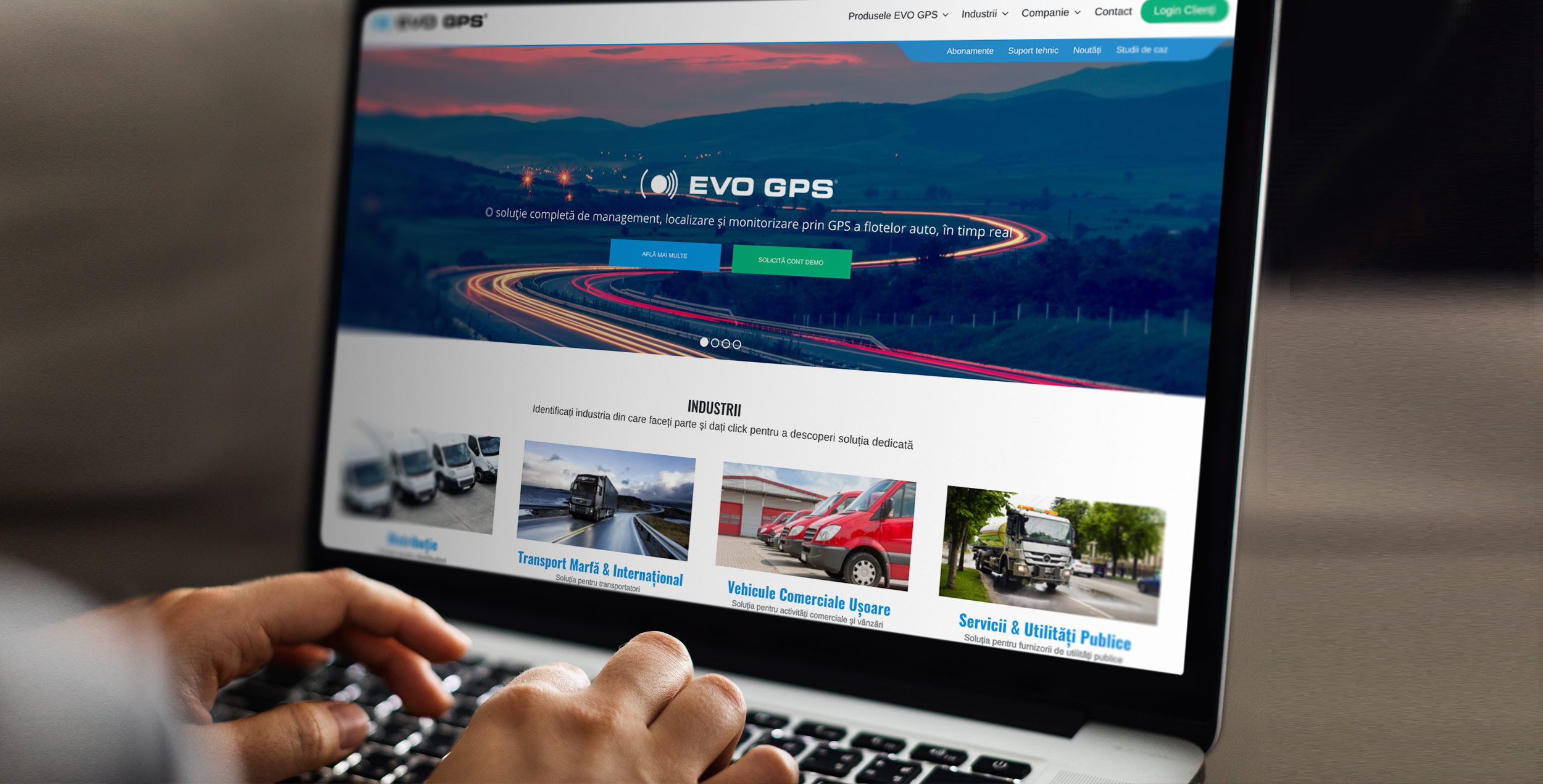 EVO GPS Website opened on a laptop