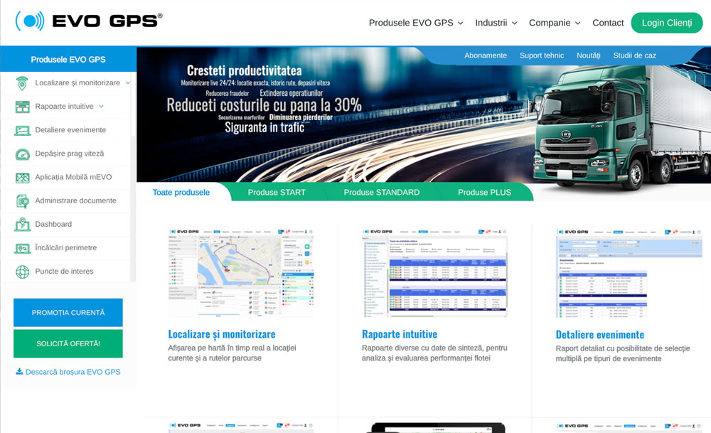 website layout of EVO GPS company developed by Golden Lobster